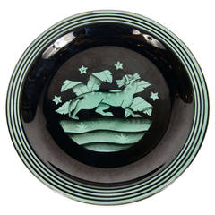 "Art Deco Ceramic""Panther"" Plate by Ilse Claussen for Rorstrand of Sweden"