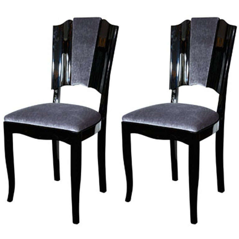 Pair of art deco dining chairs with directoire style backs for Art dining room furniture