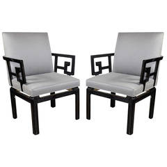 Pair of Mid Century Modern Baker Occasional Chairs in Black Lacquer