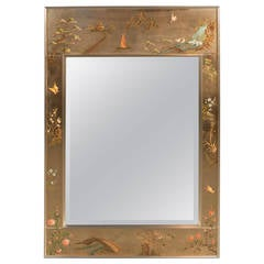 La Barge Chinoiserie Reverse Hand-Painted and Gilded Mirror