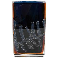 Mid-Century Modernist Handblown Vase by Exbor Glassworks Czechoslovakia