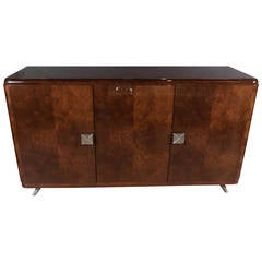 Mid-Century Modernist Book-Matched Burled Walnut Sideboard with Geometric Pulls