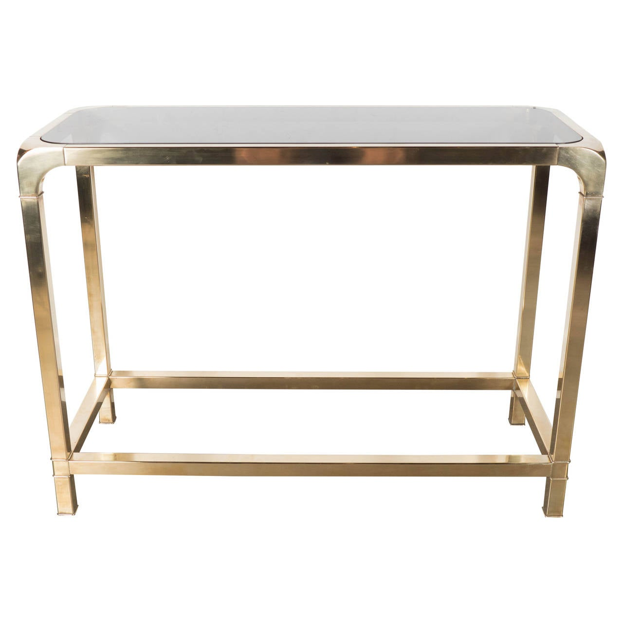Mid Century Modernist Cubist Form Brass And Smoked Glass Console Table At 1stdibs