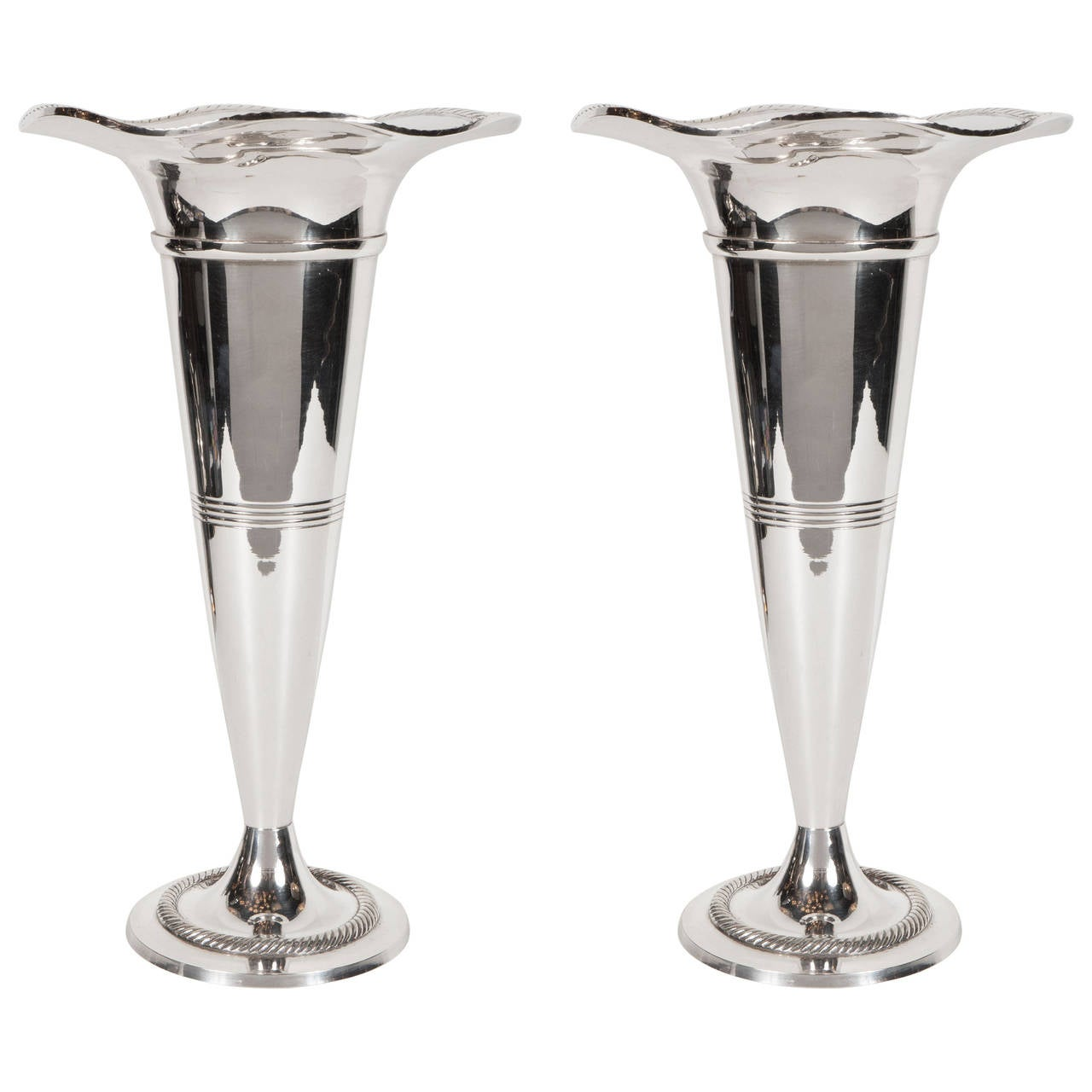 Silver Vases Elegant Pair Of Art Deco Silver Plate Trumpet Vases For Sale At