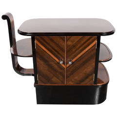 Streamlined Art Deco End Table or Dry Bar Cabinet in Book-Matched Exotic Walnut
