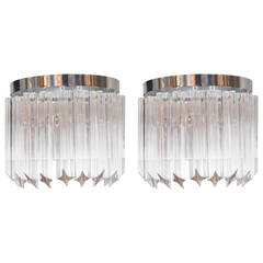 Brilliant Pair of Mid-Century Modernist Camer Crystal Sconces with Chrome Frame