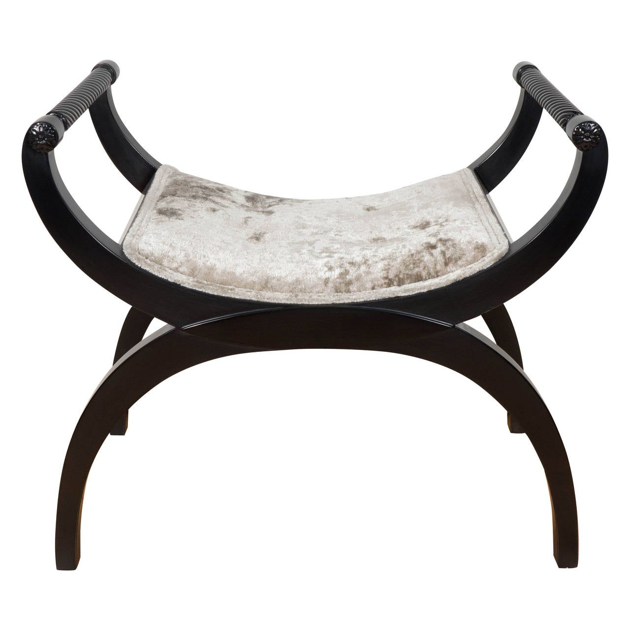 Gorgeous Mid-Century Modernist Bench or Stool in Oyster Gauffraged Velvet