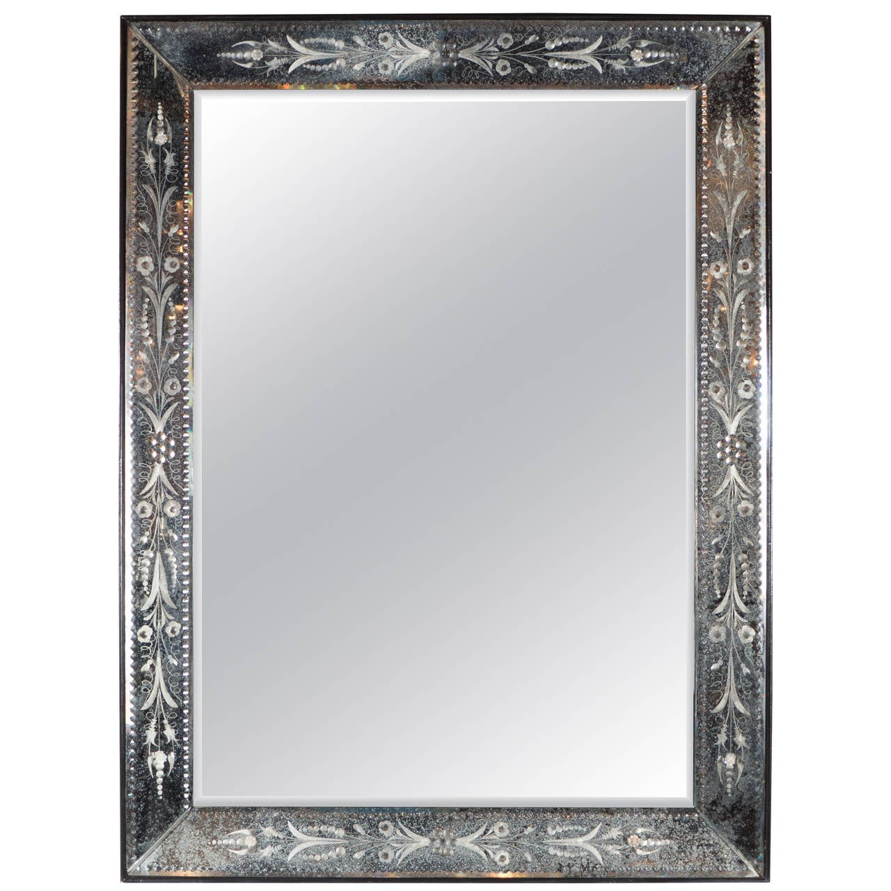 1940s venetian mirror with patinated and reverse etched for Mirror with mirror border