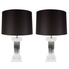 Luxe Pair of Mid-Century Modernist Pillar Lamps in Lucite and Chrome