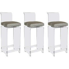 Luxe Set of Three Mid-Century Modernist Lucite High Backed Swivel Stools
