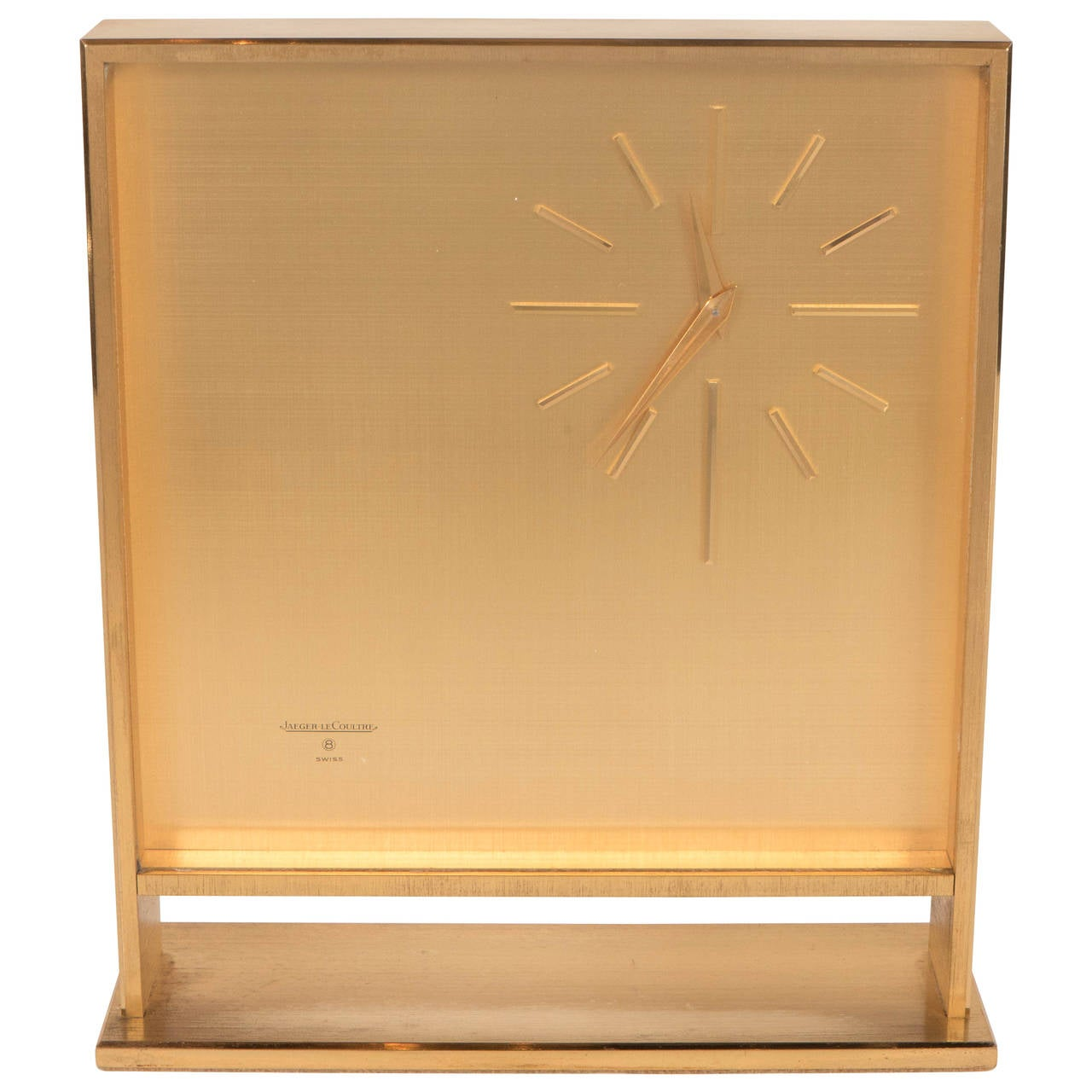 Ultra-Chic Mid-Century Modernist Metal Doré Clock by Jaeger-LeCoultre