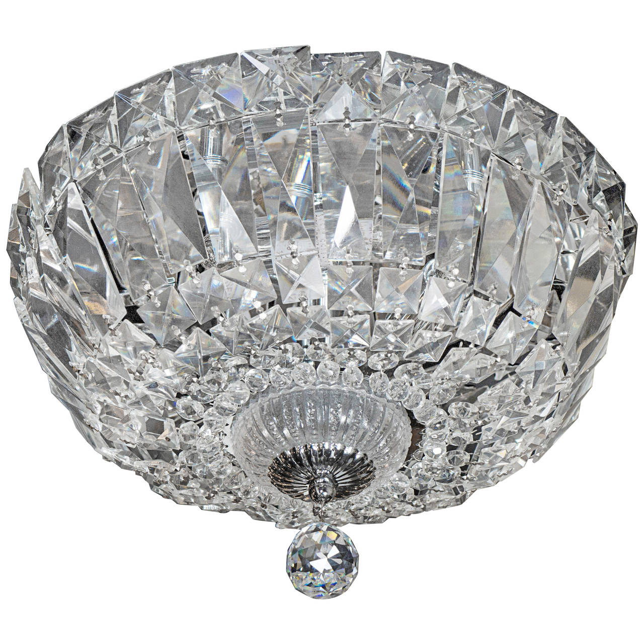 1940's Hollywood Cut Crystal Drop-Down Flush Mount Chandelier For ...