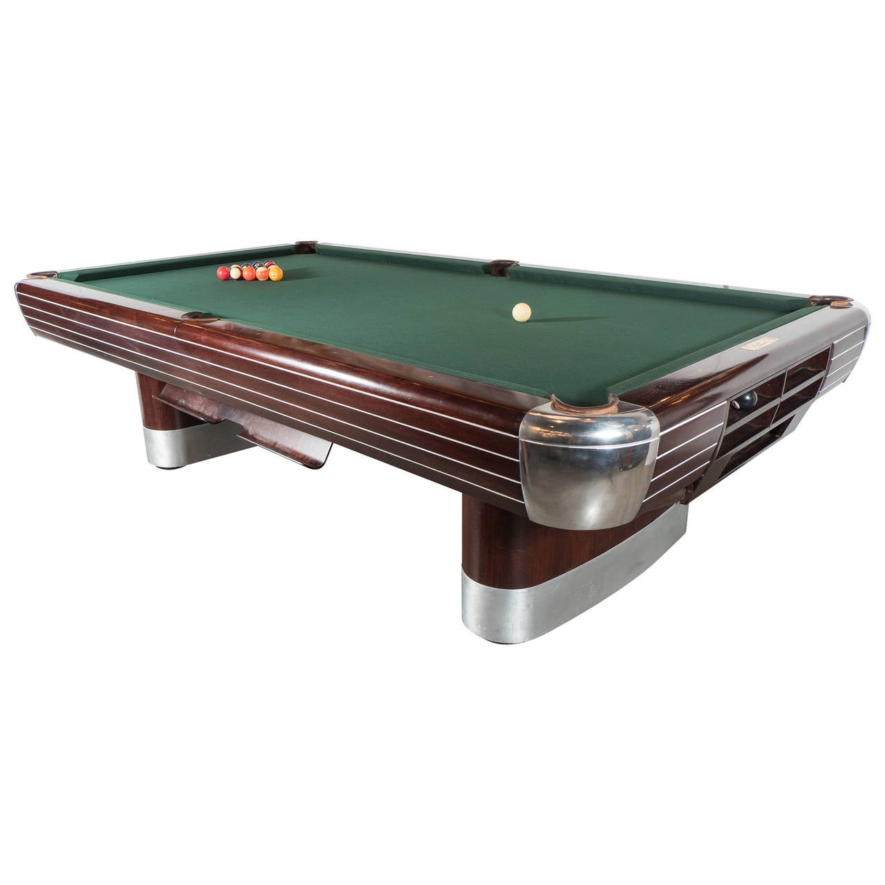 Art Deco Brunswick Pool Table In Rosewood With Brushed And Polished - Lucite pool table