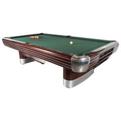 Art Deco Brunswick Pool Table in Rosewood and Brushed and Polished Aluminum