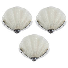 Set of Three Art Deco Murano Glass Stylized Shell Sconces with Chrome Fittings