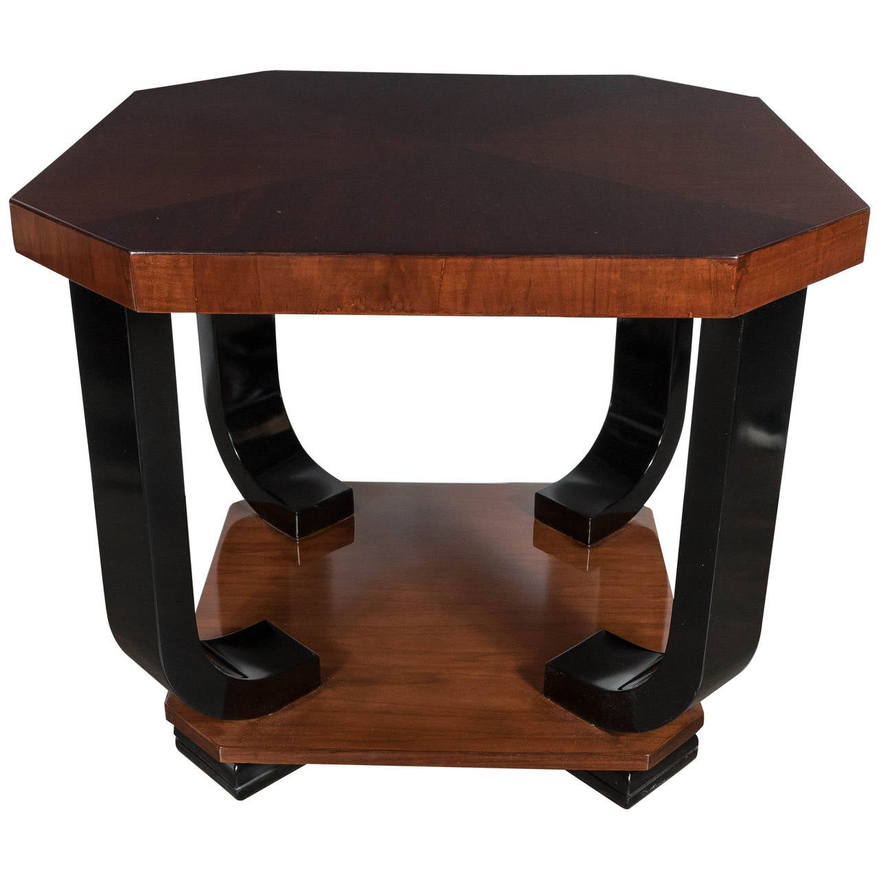 Art deco gueridon table in book matched walnut and black for Table gueridon