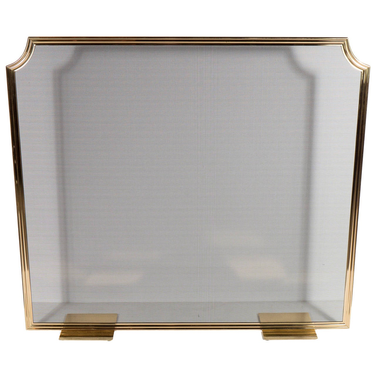 custom modern fire screen in polished brass with curved corner  - custom modern fire screen in polished brass with curved corner detail