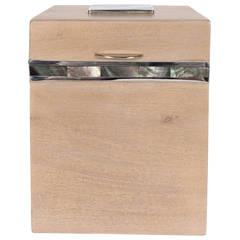 Bleached Mahogany Tall Box with Tahiti Shell Detail and Silvered Inlay