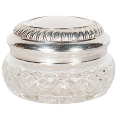 1940s Elegant Cut Crystal and Silver Plate Covered Box