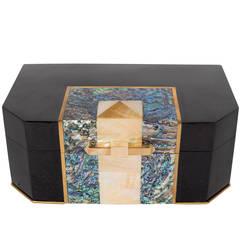 Blacktab Shell Box with Kabibi and Tahiti Shell Inlays with Brass Trims