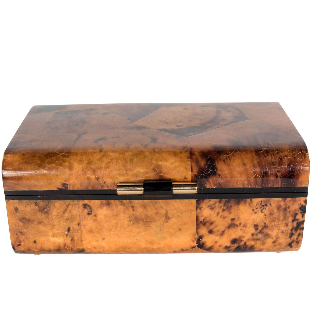 Penshell Box in Tortoise Motif with Brass Handle and Swarovski Crystal Accents