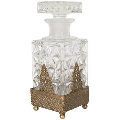 Antique Perfume Bottle in Carved Glass with Gilt Stand