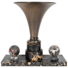 Art Deco Black Exotic Marble and Antique Brass Desk Uplight