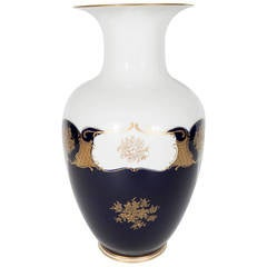 Neoclassical Revival Porcelain Vase in White and Cobalt Blue with Gold Overlay