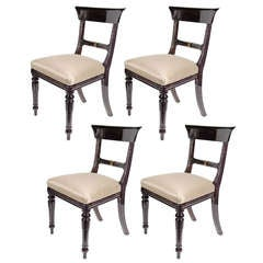 Sophisticated Mid-Century Modernist Set of Four Klismos Chairs