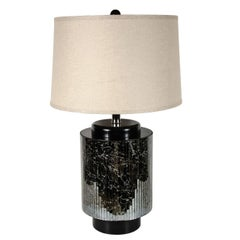 Mid-Centuy Modernist Reverse Eglomisé Mirrored Table Lamp with Chrome Fittings