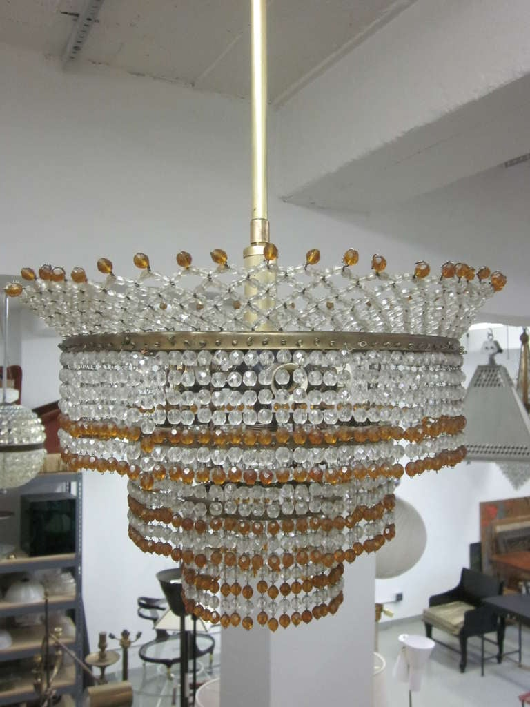 Venetian Mid-Century Modern Beaded Glass Pendant or Chandelier, 1930 In Good Condition For Sale In New York, NY