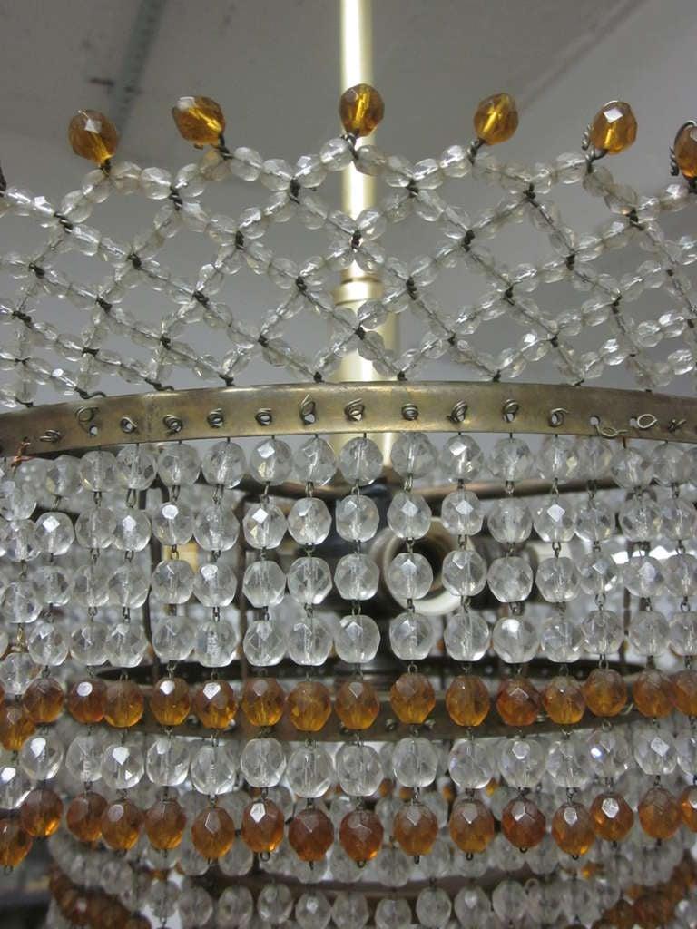 Venetian Mid-Century Modern Beaded Glass Pendant or Chandelier, 1930 For Sale 3
