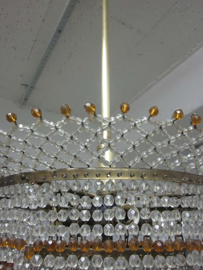 Venetian Mid-Century Modern Beaded Glass Pendant or Chandelier, 1930 For Sale 4