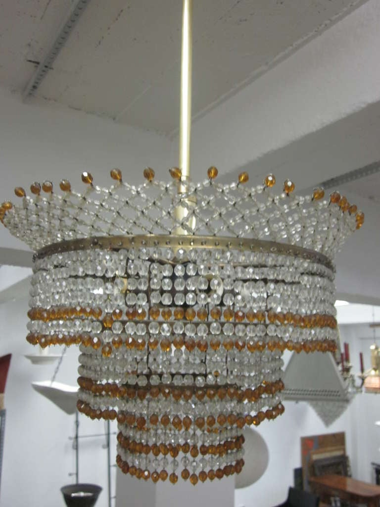 Mid-20th Century Venetian Mid-Century Modern Beaded Glass Pendant or Chandelier, 1930 For Sale