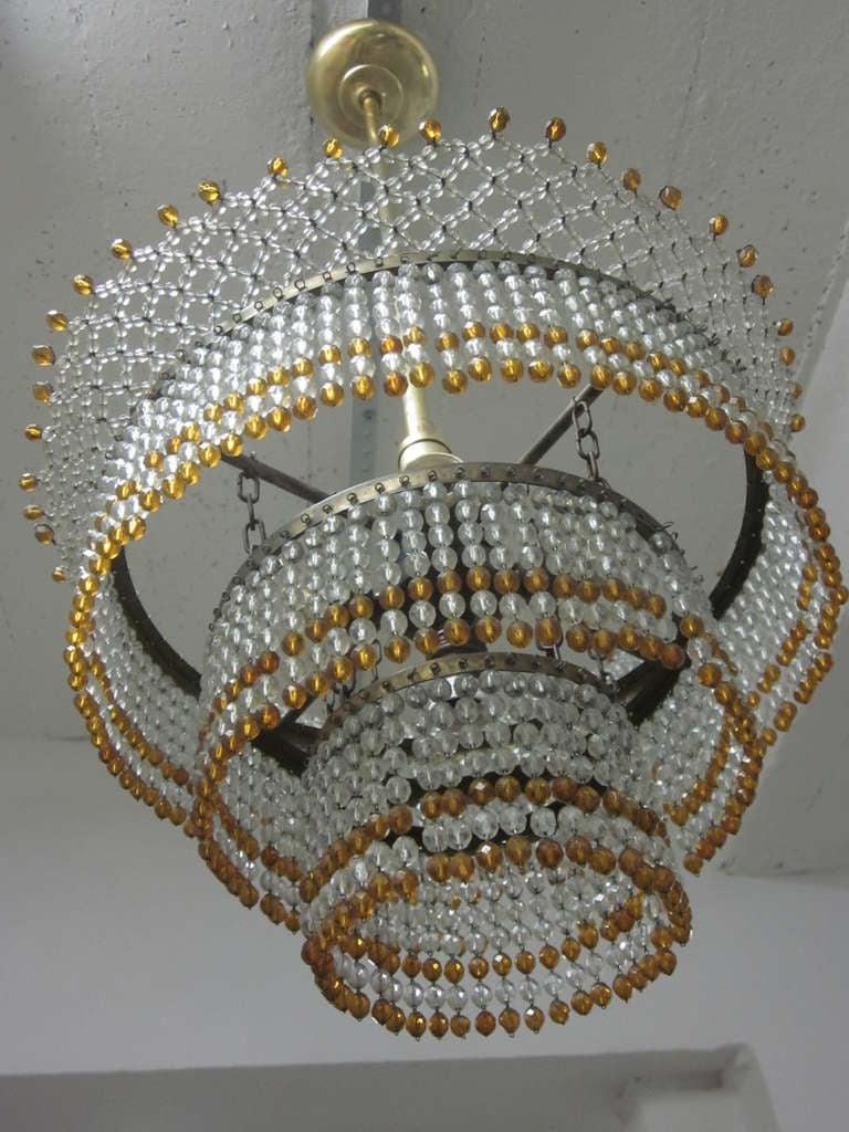 Venetian Mid-Century Modern Beaded Glass Pendant or Chandelier, 1930 For Sale 2