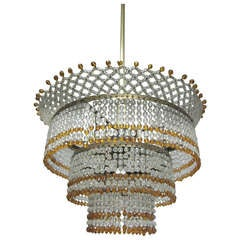 Venetian Mid-Century Modern Beaded Glass Pendant or Chandelier, 1930
