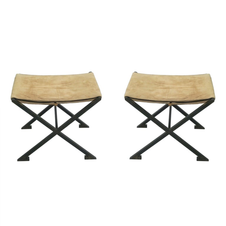 Pair French Modern Neoclassical X-Frame Iron and Leather Stools Raymond Subes