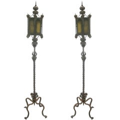 Magnificent Pair of Italian Baroque Wrought Iron Floor Lamps