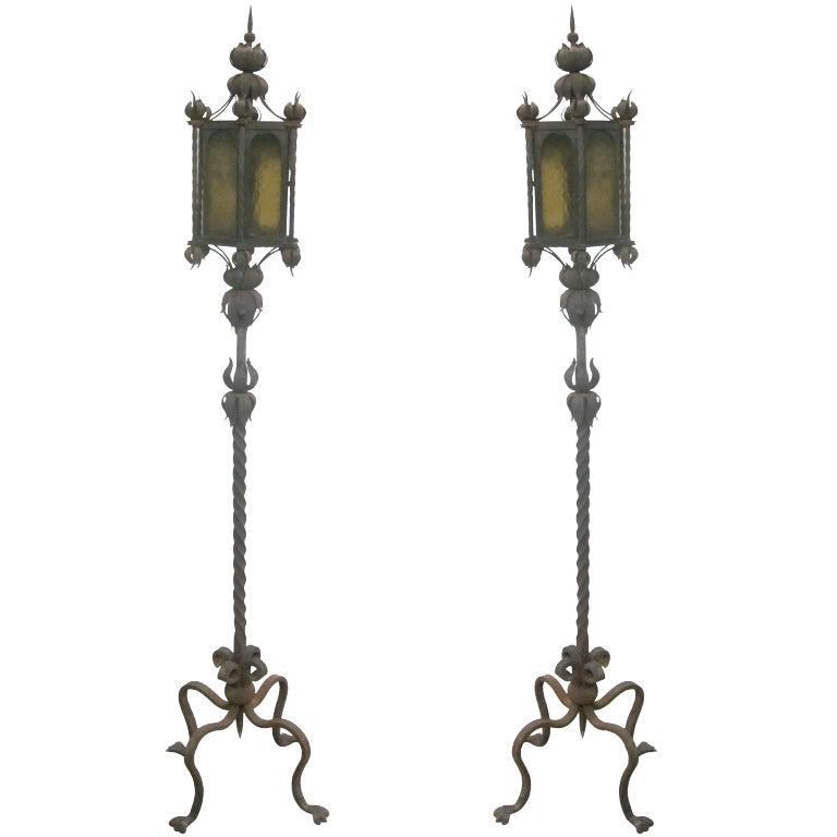 magnificent pair of italian baroque wrought iron floor. Black Bedroom Furniture Sets. Home Design Ideas