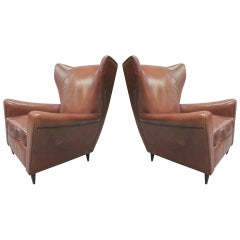 Pair of Leather Armchairs by Paolo Buffa