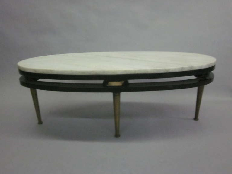 French Cantilevered Oval Cocktail Table At 1stdibs