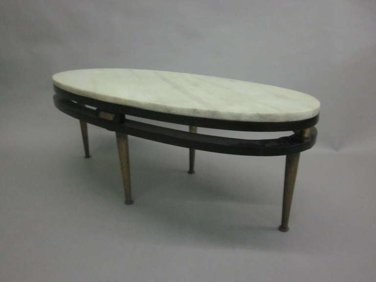 French Cantilevered Oval Cocktail Table 7