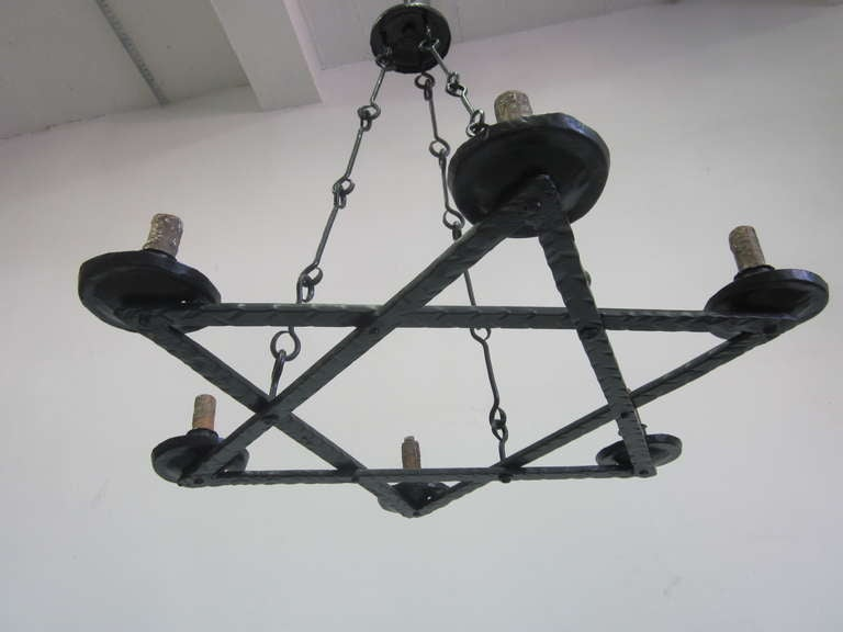 2 Mid-Century Modern Iron 'Star of David' Chandeliers, Raymond Subes Attributed For Sale 1
