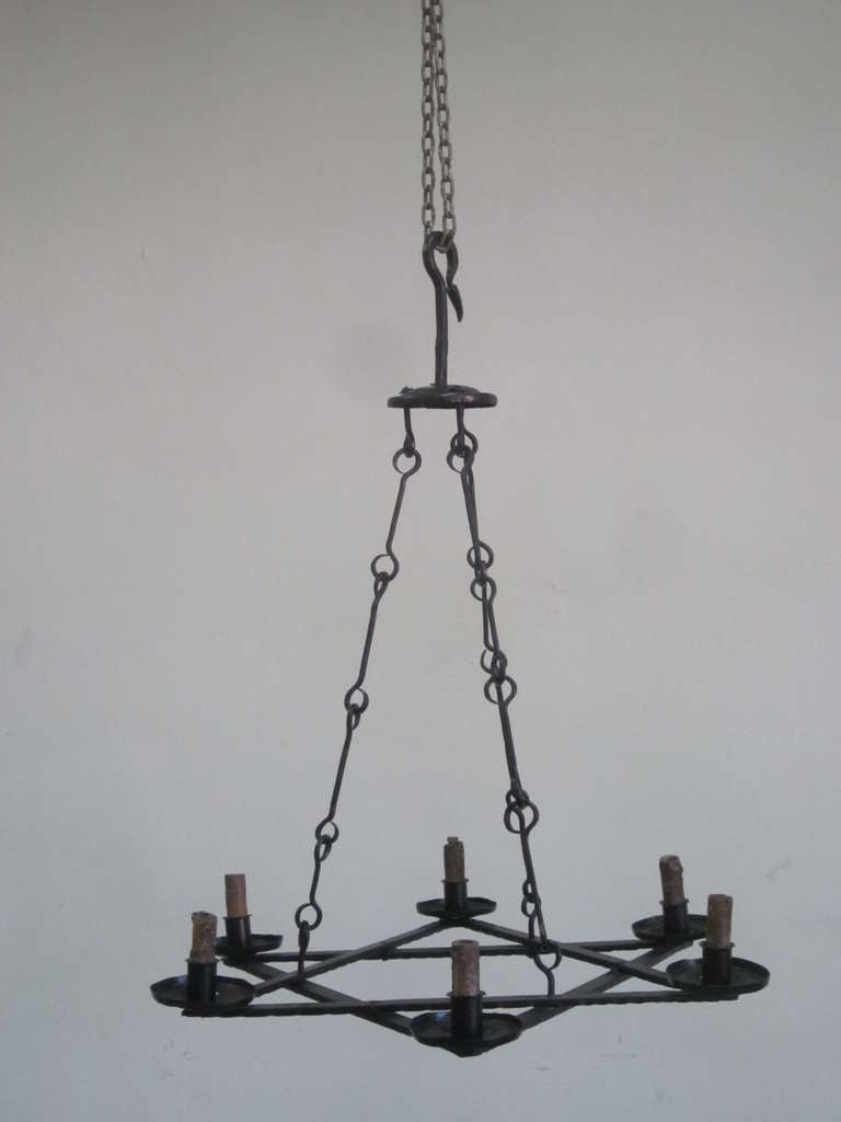 Art Deco 2 Mid-Century Modern Iron 'Star of David' Chandeliers, Raymond Subes Attributed For Sale