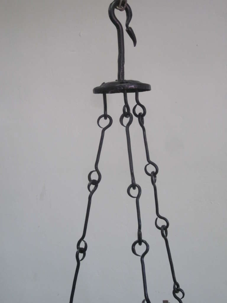 2 Mid-Century Modern Iron 'Star of David' Chandeliers, Raymond Subes Attributed For Sale 3