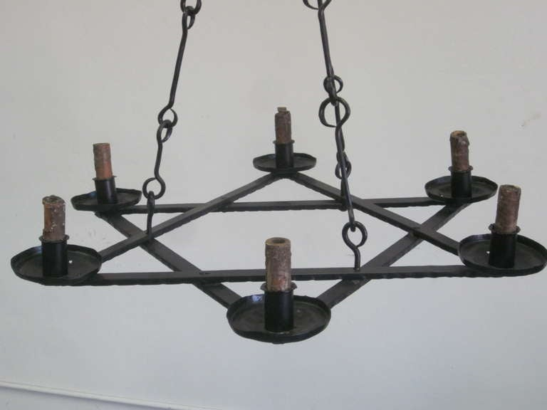 2 Mid-Century Modern Iron 'Star of David' Chandeliers, Raymond Subes Attributed In Good Condition For Sale In New York, NY