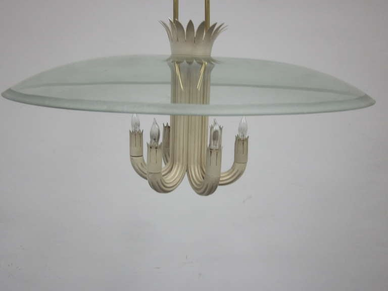 Italian Mid-Century Modern Pendant / Chandelier by Pietro Chiesa / Fontana Arte In Good Condition For Sale In New York, NY