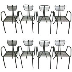 Eight French Mid-Century Dining Chairs in the Manner of Jean Prouve