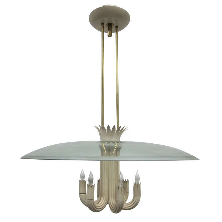 important pendant chandelier by pietro chiesa for fontana. Black Bedroom Furniture Sets. Home Design Ideas
