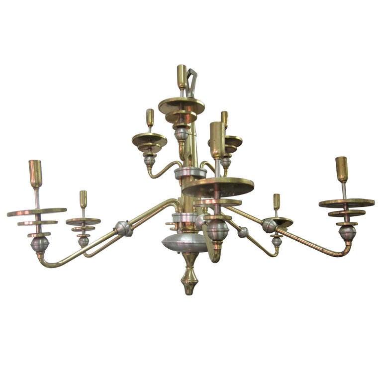 Italian Mid-Century Modern Design Double Level Chandelier in Brass & Nickel